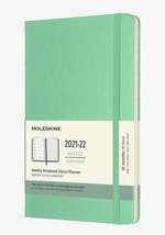 18 Months, Weekly Notebook. Large, Hard Cover, Ice Green