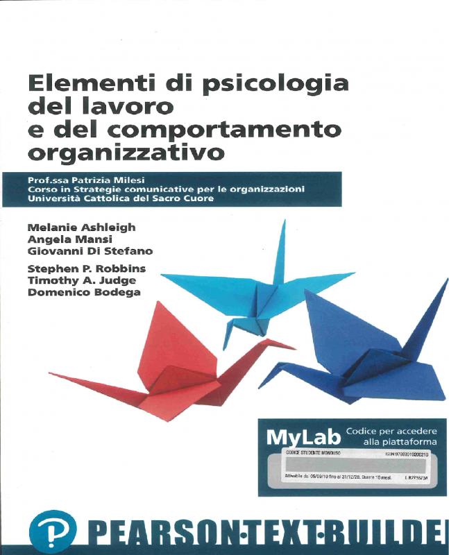 Elementi Di Psicologia Del Lavoro E Del Comportamento Organizzativo