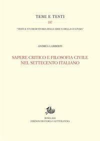 Sapere critico e filosofia civile nel Settecento italiano