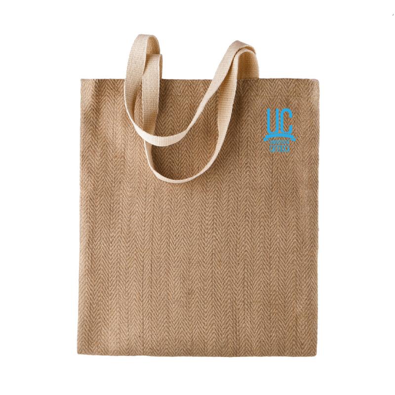 Shopper In Iuta Ecru Logo Azzurro