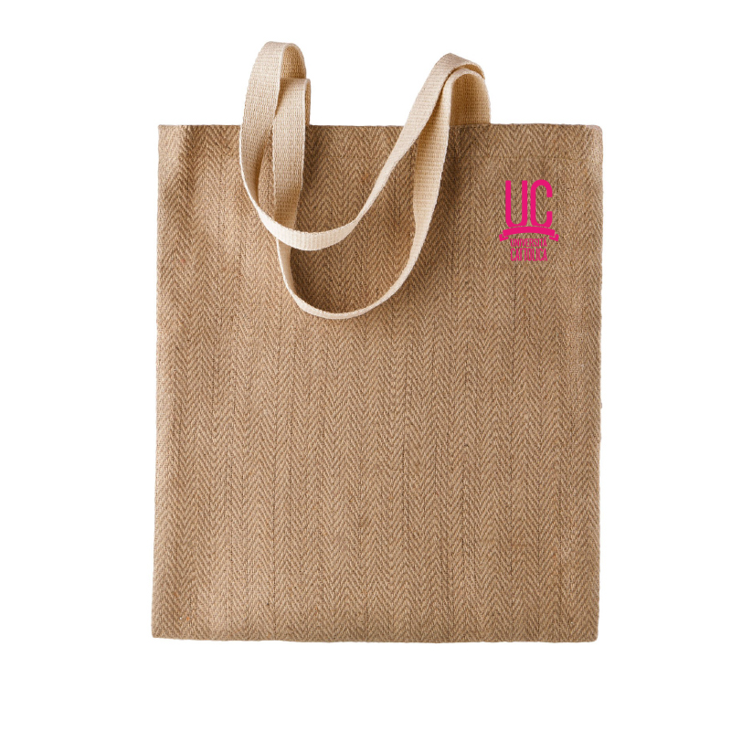 Shopper In Iuta Ecru Logo Fucsia