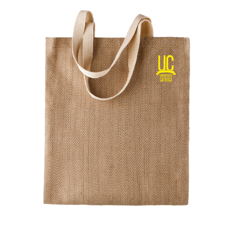 Shopper In Iuta Ecru Logo Giallo