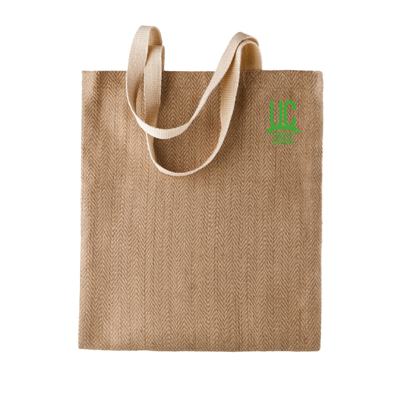 Shopper In Iuta Ecru Logo Verde